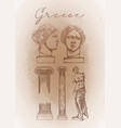 collection of ancient columns and sculptures vector image