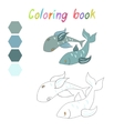 Coloring book fish kids layout for game vector image vector image