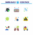 coronavirus prevention set icons 9 flat color vector image vector image