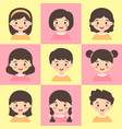 cute kids face avatar cartoon character set vector image vector image