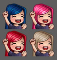 emotion icons smile happy female vector image vector image