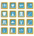 fishing tools icons azure vector image vector image