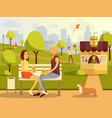 flat couple taking rest in vector image