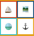 flat icon summer set of ocean yacht reminders vector image vector image