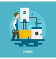 Flat Plumber Icon vector image