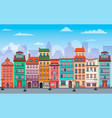 flat warsaw cityscape panorama poland europe multi vector image vector image