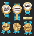 gold medal with blue ribbons award collection vector image vector image