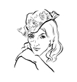 hand drawn portrait of young stylish girl vector image vector image
