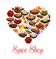 heart with spice condiment and seasoning poster vector image vector image