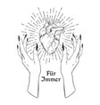 human heart in graceful female hands isolated vector image vector image