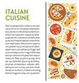 italian cuisine banner template with dishes top vector image vector image