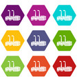large chemical plant icons set 9 vector image vector image