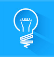 light bulb icon on blue background with shadow vector image vector image