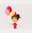 little girl celebrating with balloons cartoon vector image vector image