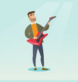 man playing the electric guitar vector image vector image