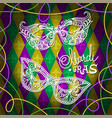 mardi gras carnival mask on rhombus background vector image vector image
