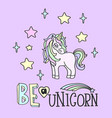 pink unicorn and be a unicorn lettering vector image vector image