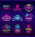 poker club neon badges casino game stamps light vector image vector image