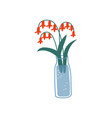 red spring or summer colorful flowers in glass vector image vector image