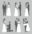 set bride and groom vector image