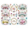 set of hand drawing cute cartoon car with a floral vector image