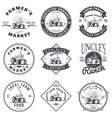 Set of retro farm fresh labels badges and design vector image