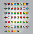 set of round glossy flags of sovereign countries vector image