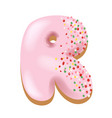 sweet donut font letter r cartoon vector image