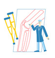 tiny doctor character orthopedist in robe uniform vector image