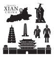 Travel Xian China Objects Mono Set vector image