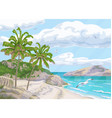 tropical background with sea coast and palm trees vector image vector image