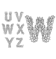 U v w x y and z floral letters vector image
