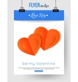 Valentines Day brochure template with paper hearts vector image vector image