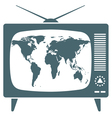World map in retro TV vector image