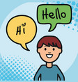 young man and speech bubble with hello message vector image vector image