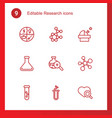 9 research icons vector image vector image