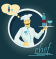 a chef holding a tray with a drink vector image
