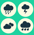 air icons set collection of lightning weather vector image