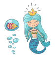 beautiful cute little siren mermaid vector image