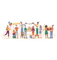 birthday party friends with cake and balloons vector image vector image