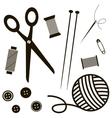 black sewing and knitting tools vector image vector image