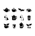 black tea icons brewing herbal hot drinks iced vector image
