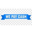blue ribbon with we pay cash title vector image vector image