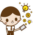 Businessman use tablet computer money and idea vector image
