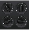 car dashboard knob switch set air flow level vector image vector image