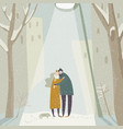 cartoon couple in love hugging on snowing street vector image vector image