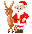 cartoon santa and deer posing vector image vector image
