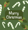 christmas and new year on green background holly vector image vector image