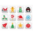 Christmas buttons set - Santa xmas tree present vector image vector image