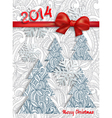 Christmas card with an ornament and red bow vector image vector image